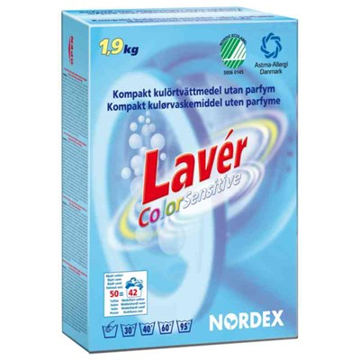 TVÄTTMEDEL NORDEX COLOR SENSITIVE 1.9KG U BLEKM/PARFYM